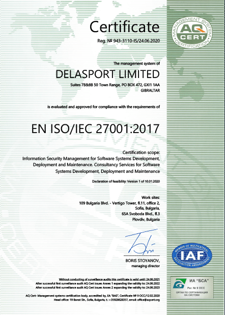 Delasport certificate-ISO/IEC 27001:2017